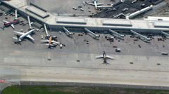 Aerial zoom-out from Chicago's O'Hare Airport. Shot in 2003. Stock Footage