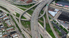 Close partial orbit of Chicago freeway interchange. Shot in 2003. Stock Footage