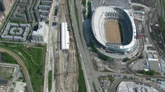 Aerial view of Chicago Bears' stadium and neighboring area. Shot in 2003. Stock Footage