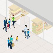 Supermarket Isometric Illustration Stock Illustration