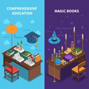 Books And Education Banners Set - stock illustration