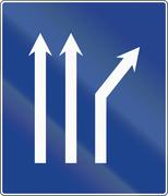 Road sign used in Spain - Fork right on three-lane carriageway Stock Illustration