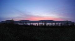 Sunset on the salt lake Uchum, Krasnoyarsk Krai, Russia, Full HD Stock Footage