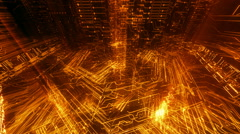 Golden 3D circuit board-like background Stock Footage