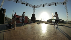 Performance of Girls DanceHall at Sunset - stock footage