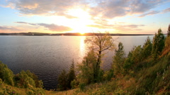 Sunset on the river Kama. Cape Strelka, Gorodishche Village,  Stock Footage