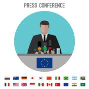 Press conference icon - stock illustration