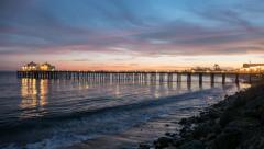 Malibu Pier Twilight Time Lapse Stock Footage