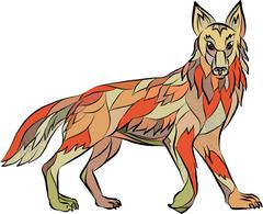 Coyote Side Isolated Drawing Piirros