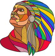 Native American Indian Chief Headdress Drawing Stock Illustration