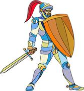 Stock Illustration of Knight Full Armor With Sword Defending Mosaic