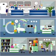 Vector banners with doctors and hospital interiors. Patients passing medical Stock Illustration