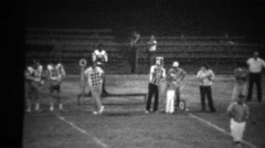 1978: High school football night game 3rd down sign on sidelines. - stock footage
