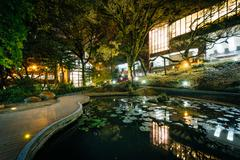 Small pond and modern buildings at night, from Hong Kong University, in Hong  Stock Photos