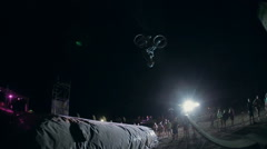 Extreme Rider Making A stunt on The Bike. The Dirt Jumping competition. Stock Footage