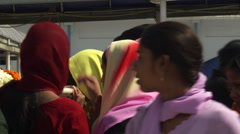 Close shot of colorful headwear in an Indian  street crowd - stock footage