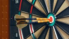 Three Darts Hitting Double Bullseye in Slow Motion - stock footage