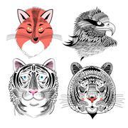 Fox eagle and tiger Stock Illustration