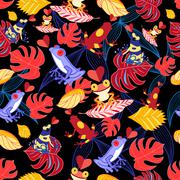 Pattern of the lovers frogs Stock Illustration