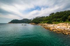 Rocky coast at Stanley, on Hong Kong Island, Hong Kong. Stock Photos