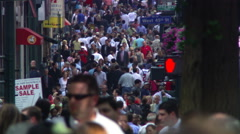 Dense crowd approaching camera near West 45th Street, NYC Stock Footage