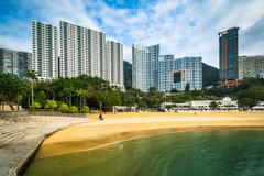 Stock Photo of Skyscrapers and beach at Repulse Bay, in Hong Kong, Hong Kong.