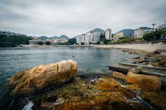 Rocky coast at Stanley, on Hong Kong Island, Hong Kong. Stock Photos