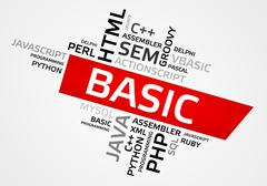 BASIC word cloud, tag cloud, vector graphics - programming concept Stock Illustration