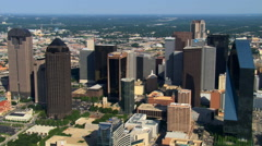 Flying over high-rises in Dallas, Texas. Shot in 2007. Stock Footage