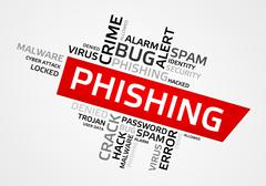 PHISHING word cloud, tag cloud, vector graphics - security concept - stock illustration