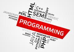 PROGRAMMING word cloud, tag cloud, vector graphics - programming concept Stock Illustration
