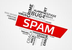 SPAM word cloud, tag cloud, vector graphics - security concept - stock illustration