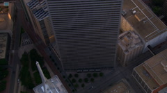 Overhead orbit of Thanksgiving Square in Dallas, Texas - stock footage