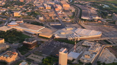 Orbiting Dallas (Texas) Convention Center Stock Footage