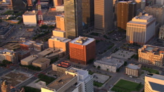 Late afternoon flight across downtown Dallas, Texas - stock footage