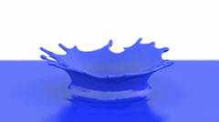 Blue paint drop falling in slow motion in blue paint Stock Footage
