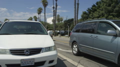 Rear view of a Driving Plate: Car traveling on Pico Boulevard in Santa Monica, Stock Footage