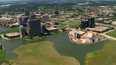 Flying over Las Colinas in a suburb of Dallas, Texas Stock Footage