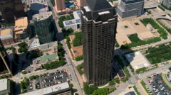 Looking down onto Trammell Crow Tower in Dallas, Texas Stock Footage