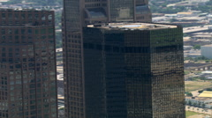 Close orbit of shining towers in downtown Dallas, Texas Stock Footage