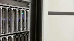 IT consultant removes blade server in datacenter Stock Footage