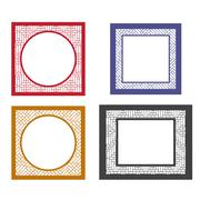 Set of retro blank picture frame template Stock Illustration