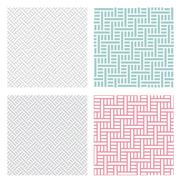 Geometric weave puzzle pattern in four color Stock Illustration