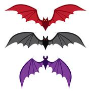 Set of bat with big wings in color in flat style Stock Illustration