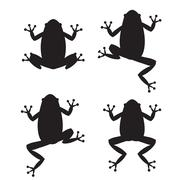 Set of frog silhouettes on white background - stock illustration