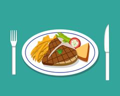 T-bone steak and french fries on dish - stock illustration