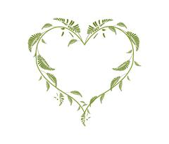 Beautiful Green Vine Leaves in A Heart Shape Stock Illustration
