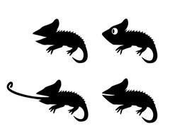 Set of lizard in silhouette style. side view - stock illustration