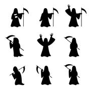 Set of Grim Reaper in silhouette style Stock Illustration