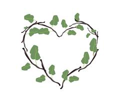 Green Leaves and Twigs in A Beautiful Heart Shape Stock Illustration